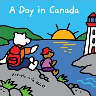 """A Day in Canada: This sweet picture book from popular illustrator Per-Henrik Gurth begins simply with, """"It's time to wake up. What will you do today?"""" It then takes readers on a sunrise-to-sunset tour across Canada, showcasing all kinds of fun adventures to be had from coast to coast to coast. Each colorful spread shows a different time of day and location with a corresponding activity."""