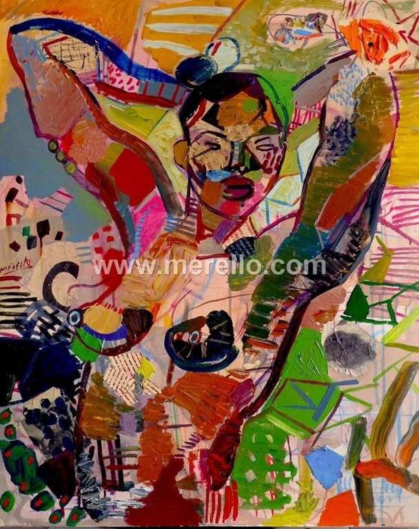 Pintores-espanoles. Actuales-contemporaneos.-merello.-ebony (100x81 cm) mixta-lienzo