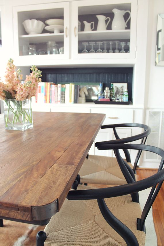 Our new and improved dining room natural wood table