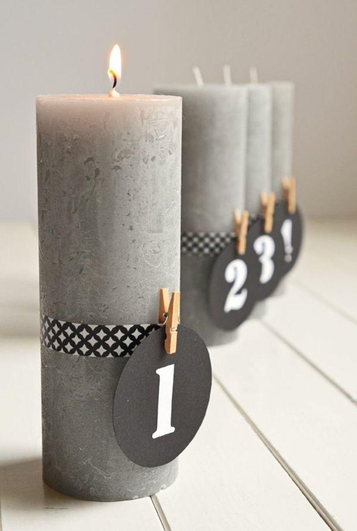 4 Adventskerzen in Grau, nummeriert