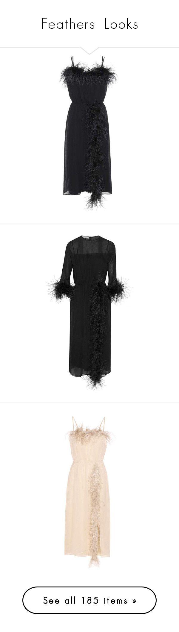 """Feathers  Looks"" by jckyleeah ❤ liked on Polyvore featuring feathers, jckyleeahfeatherscollection, dresses, prada, black, silk cocktail dress, silk dress, prada dresses, feather trim dress and keyhole midi dress"