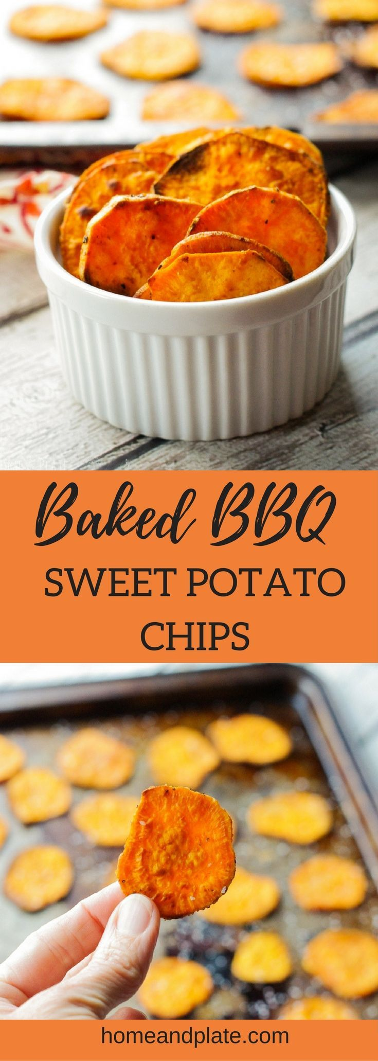 Baked BBQ Sweet Potato Chips | www.homeandplate.com | Sweet and spicy, these sweet potato chips are tossed in a barbecue seasoning and baked to perfection. #gameday #sweetpotatochips #bakedpotatochips