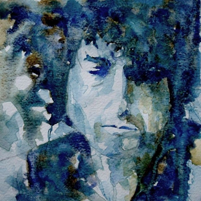 Tangled up in Blue ..Bob Dylan Art Print by Paul Lovering Watercolors