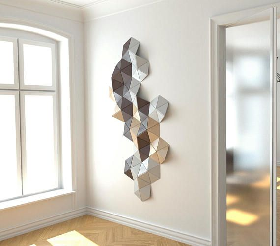 Wall sculpture/ Wooden wall art/ Wall installation/ Geometric