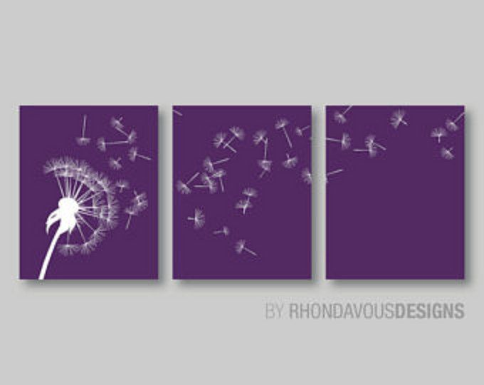 Dandelion In The Wind Print Trio. Purple And White Dandelion. Home Decor.  Wall