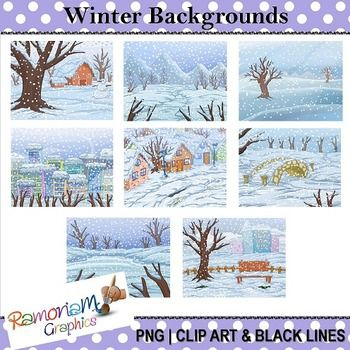 This set contains 8 Winter themed digital backgrounds/scenery. Each image is in color as well as black and white. JPEG format and 300dpi. Great for scrapbooking, educational resources, photography, cards, printables - whatever you like!
