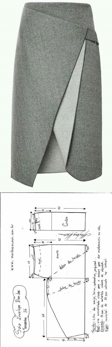 Юбка с креативным запахом (готовые выкройки)