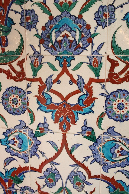 "Iznik Tiles, showing the famous ""tomato red,"" from the tomb of Sultan Mehmet III"