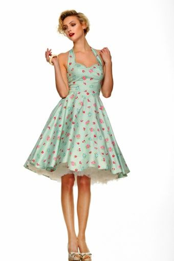 Bunny - 50s Retro halter 50s Bobbilee Dress Mint Green Summerfruit