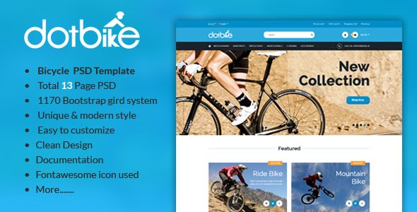 DotBike - Bicycle E-commerce PSD Template