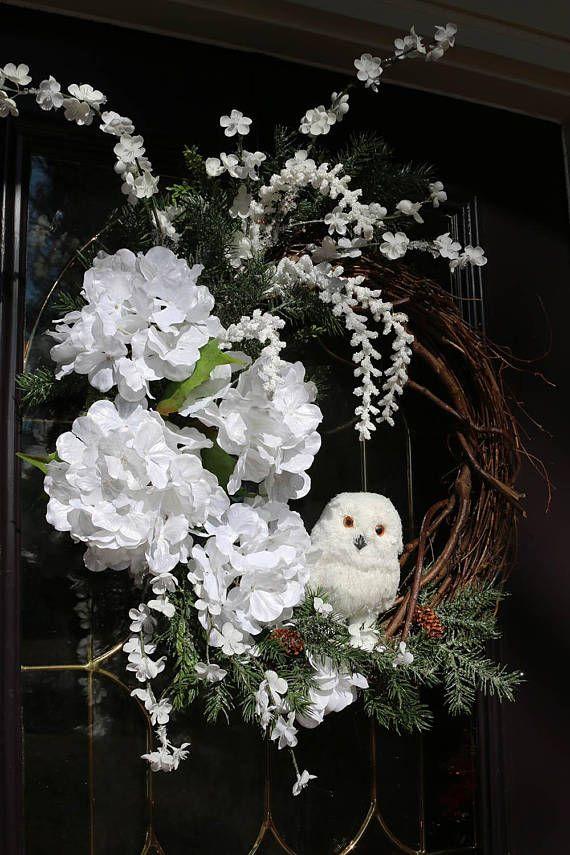 Elegant Winter wreath for front door Winter owl wreath