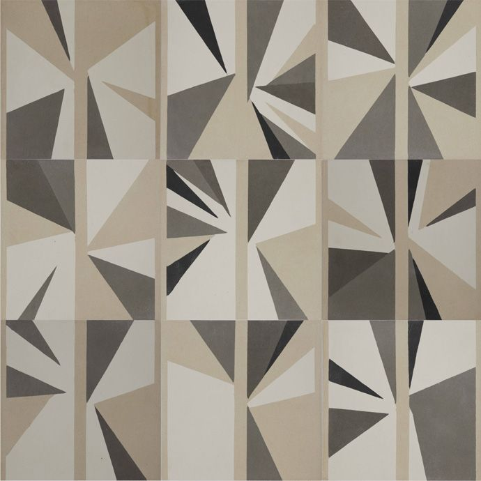 Refraction tiles, 9 Cement encaustic handmade tiles by Blatt Chaya, exclusively for Carwan Gallery and designed by Lindsey Adelman.