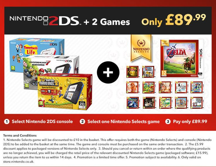 Nintendo 2DS Console + 2 Games for £89.99! Nintendo Shop - Spotted Bargains - Live Bargains
