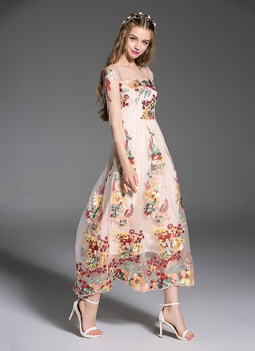 Embroidery Floral Day Dresses