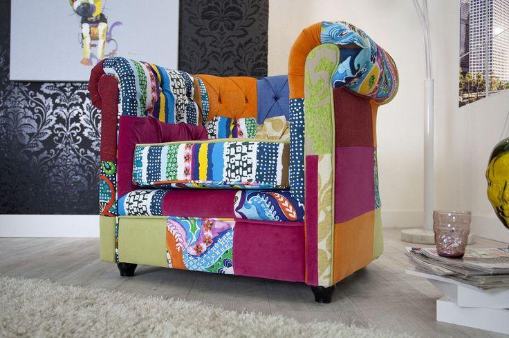 SOLDES - Fauteuil Chesterfield en coloris multicolor - Fauteuils - CANAPE
