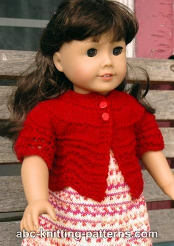 Free knitting pattern - American Girl Doll Hamptons Summer Cardigan