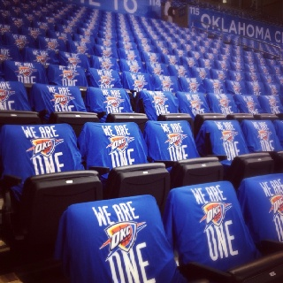 My daughter took this picture before the OKC Thunder playoff game. Everyone wore the shirts, our fans are the best!