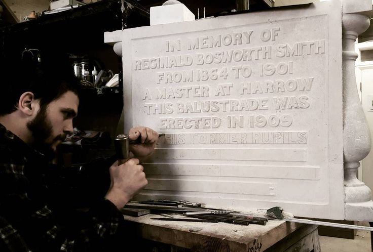 Josh has been working on his plaque for harrow school. It's been quite challenging as we had to use the existing stone which was not the best quality. And raised letters are very time consuming....