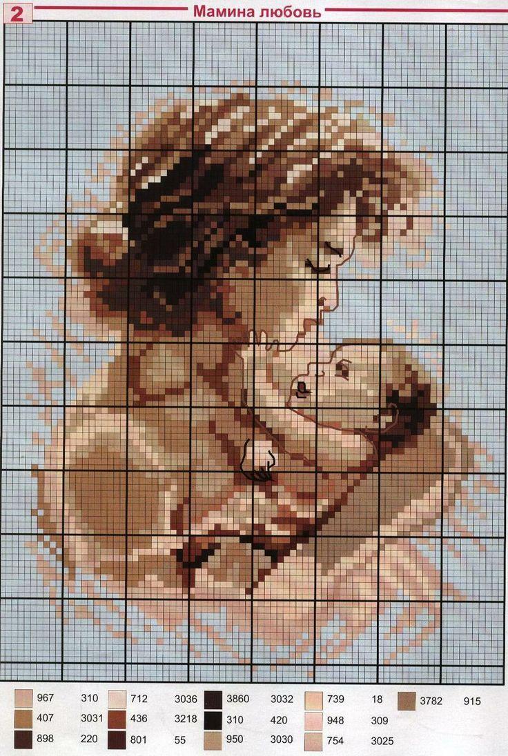- cross stitch woman, mum,mother with bay,child