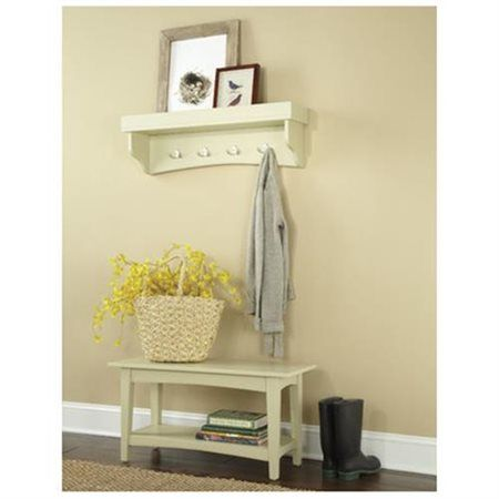 Alaterre Shaker Cottage Bench Coat Hooks With Tray Sand Beige