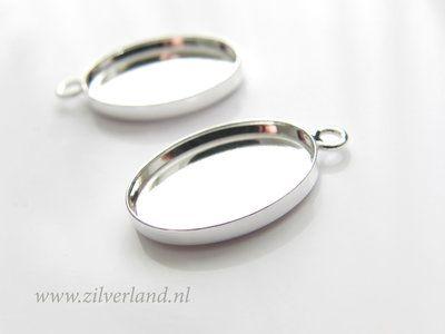 18mm Sterling Zilveren Hanger voor UV Hars/Resin of Cabochons- Ovaal