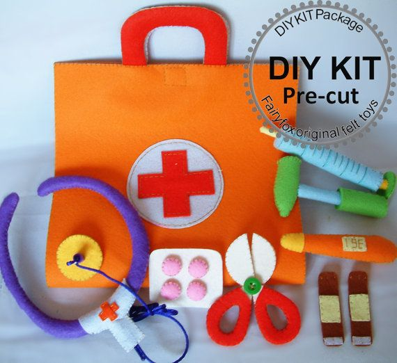 Juguetesfieltro médico bolsa de fieltro Doctor SetKT22 por fairyfox