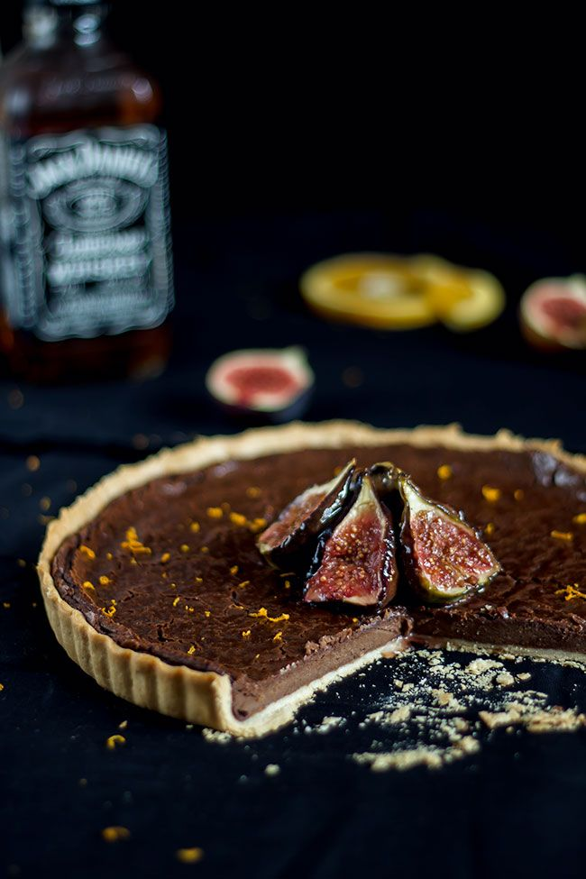 Chocolate Whiskey Tarte with caramelised figs…