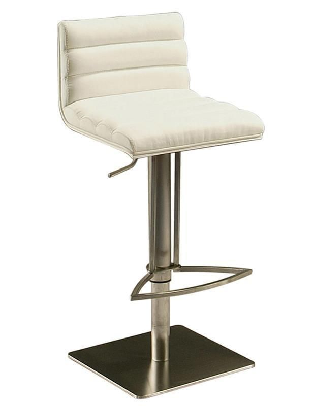 Pastel Furniture DB-219-SS-WH-978 Dubai Hydraulic Barstool in stainless steel with white veneer back upholstered in PU Ivory - Each Stool