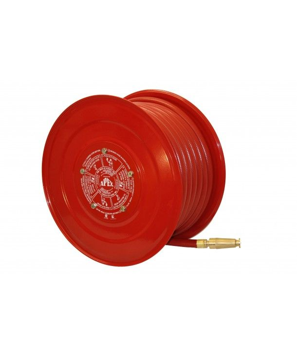 Wall mounted fire hose reel. Supplied with: Mounting bracket, inlet pipe, ball valve, hose guide and connection fitting. Buy online, free shipping NZ wide.