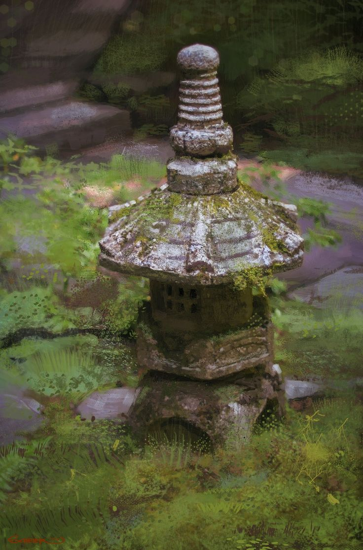 the stone lantern, Jason Scheier on ArtStation at https://www.artstation.com/artwork/the-stone-lantern