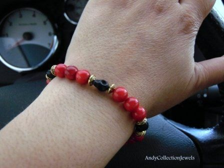 Women Halloween Wristband with Red Coral and Black Howlite Skull