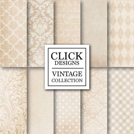 Wedding Digital Paper: BEIGE TEXTURES textured by ClickDesigns