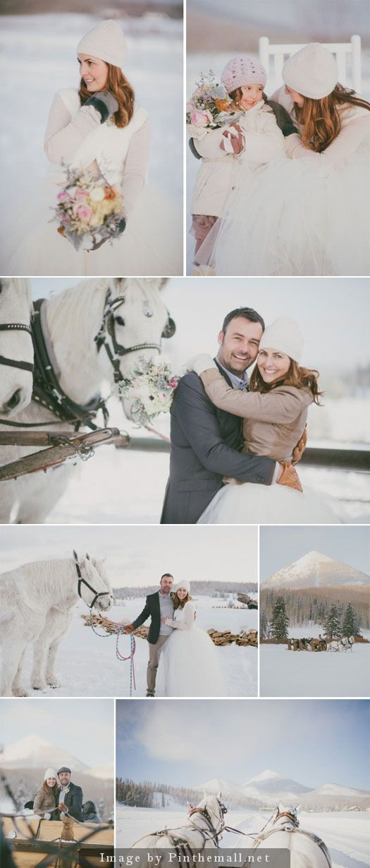 "A romantic winter wedding in the snow in Steamboat Springs, Colorado. ""Snow makes everything look beautiful. Our mountain destination wedding was snowy, picturesque and romantic."""
