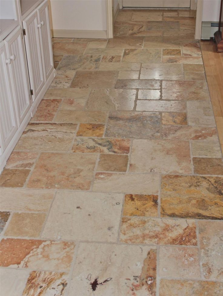 Marble Kitchen Floor Tiles Part - 30: Kitchen, : Marvellous Kitchen Design Ideas With White Wood Kitchen Counter  And Vintage Brown Marble Tile Kitchen Flooring Design