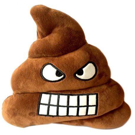 Coussin emoji emoticon sourire caca poo  enervé  28 cm