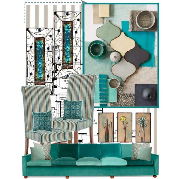 Gray And Teal Living Room By Jurzychic On Polyvore: Aqua And Grey Color Scheme, Created By