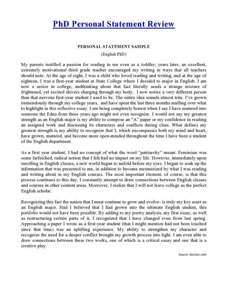 Graduate School Personal Statement Template Beautiful Phd English Example