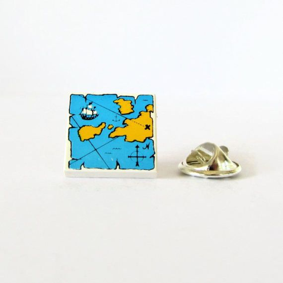 Pirate Map Pin-Lapel Pin-Sea Map Pin-Treasure Map Pin-Sailor's Pin-Nerdy Birthday Gift-Best Friend Gift-Geek's Brooch-Traveller's Pin-Geeky