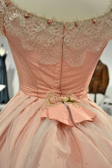 vintage pink with lace and mini rosettes