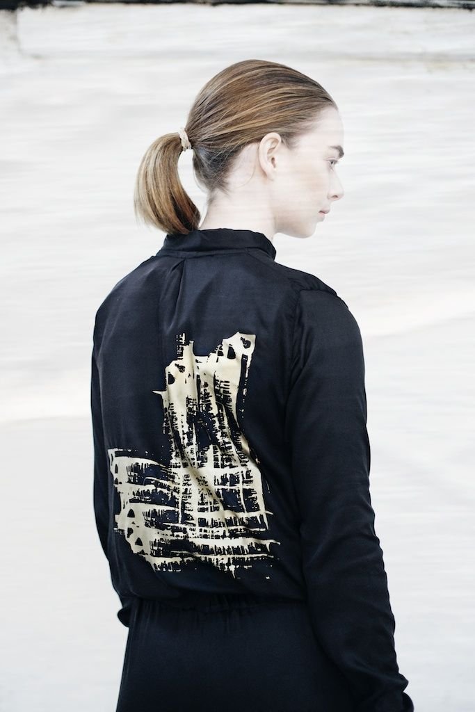 We are Islanders Black Bamboo Silk Bomber Jacket with Gold Hand-Print