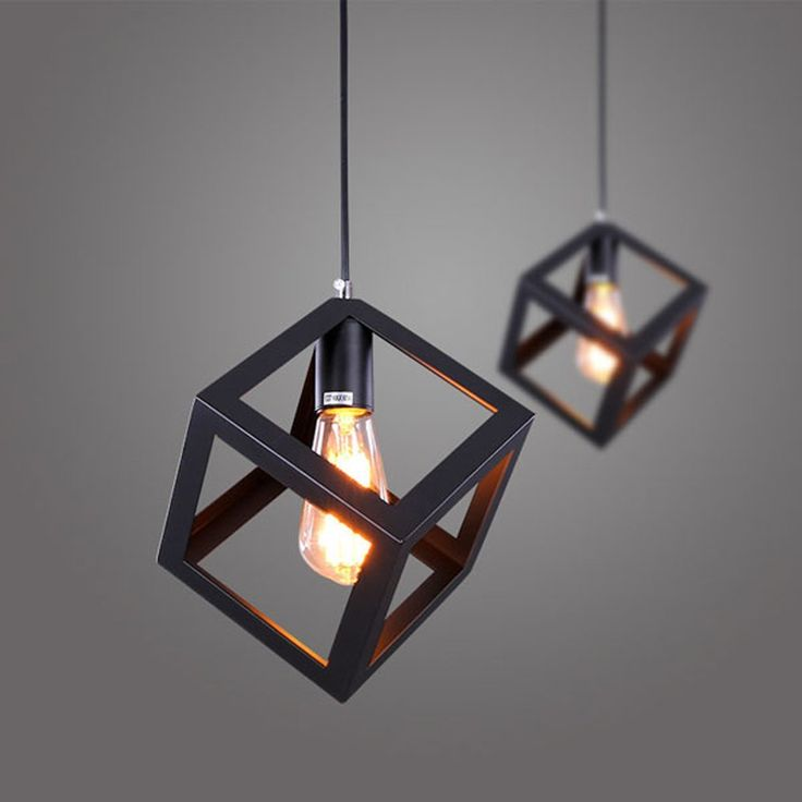 Pics Of Nordic Style Vintage Retro Pendant Lights LED Pendant Lamp Metal Cube Cage Lampshade Lighting Hanging Light Fixture for Home Dec