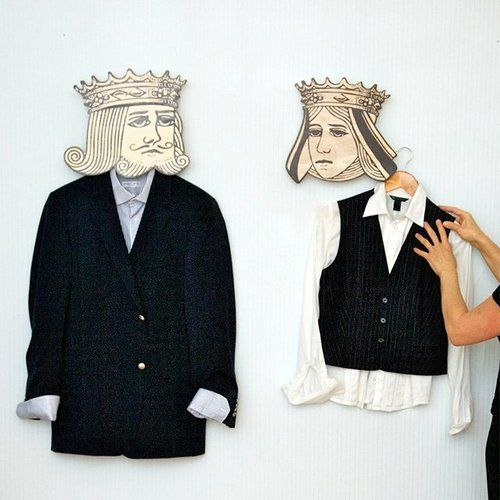 WAY cooler if they are printed versions of faces! His and her face on each their own hanger so THEY are wearing the outfit! --God Save the King/Queen, Hangers