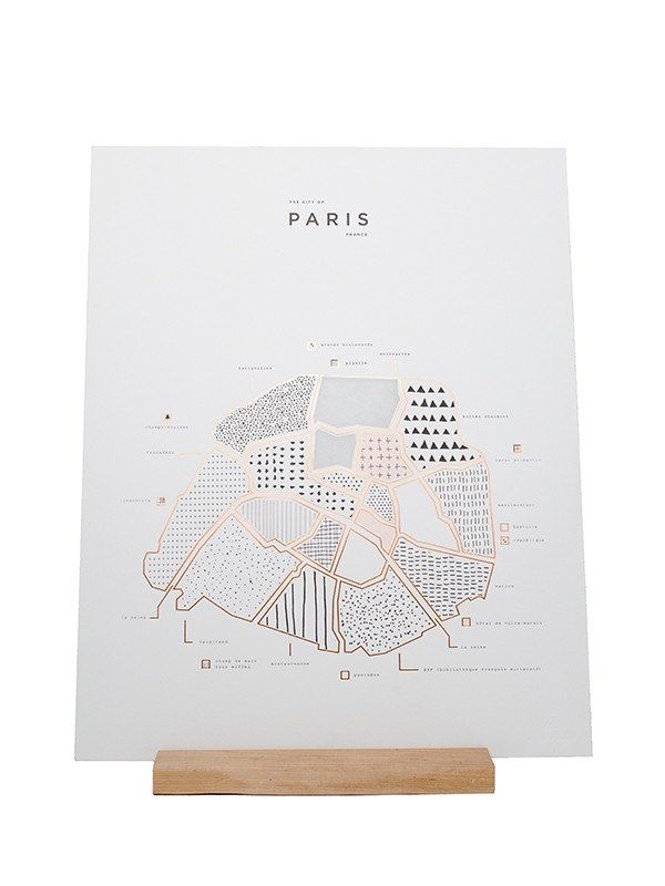 ROAM by 42Pressed letterpress and shiny copper Foiled 16 x 20 map print of Paris, France. Printed on 100 LB. bright white paper.