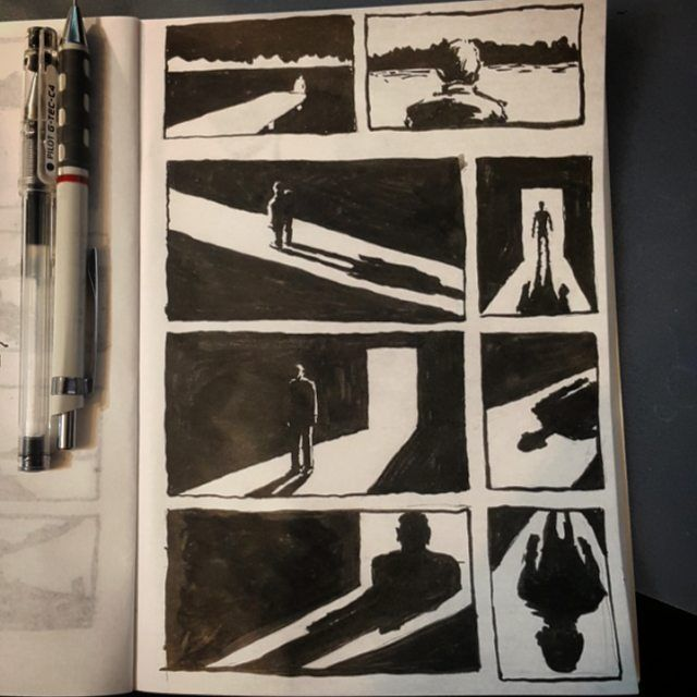 #daily #practice #sketching #sketch #sketches #thumb #thumbs #thumbnails #thumbnailsketches #blackandwhite #black #white #door #doors #scene #scenery #scenes #story #sbelicki #belicki #man #character #light #shadow