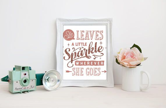 Glitter Nursery Print  Leaves a Little Sparkle  Girls