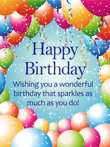 Sparkling Balloon Happy Birthday Card