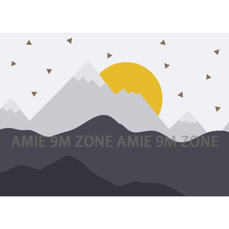 Cartoon Mountains and sun illustration art mural wallpaper for kid's bed room wall decor wallpapers for nursuery room discount