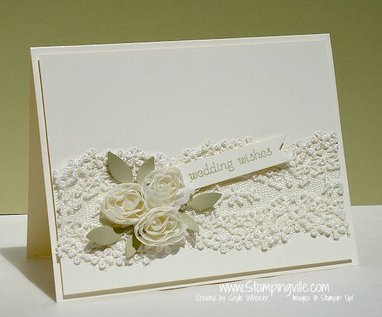 Ivory Wedding Wishes Card Idea - Stampin' Up! Would love on Kraft to make it more rustic.