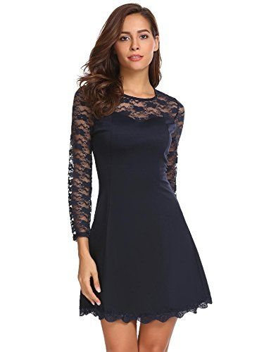 57b3dd71201bfb Damen Kleider Spitze Abendkleid Langarm Elegantes Cocktailkleid Partykleid  Festliche A-Linie Kleider