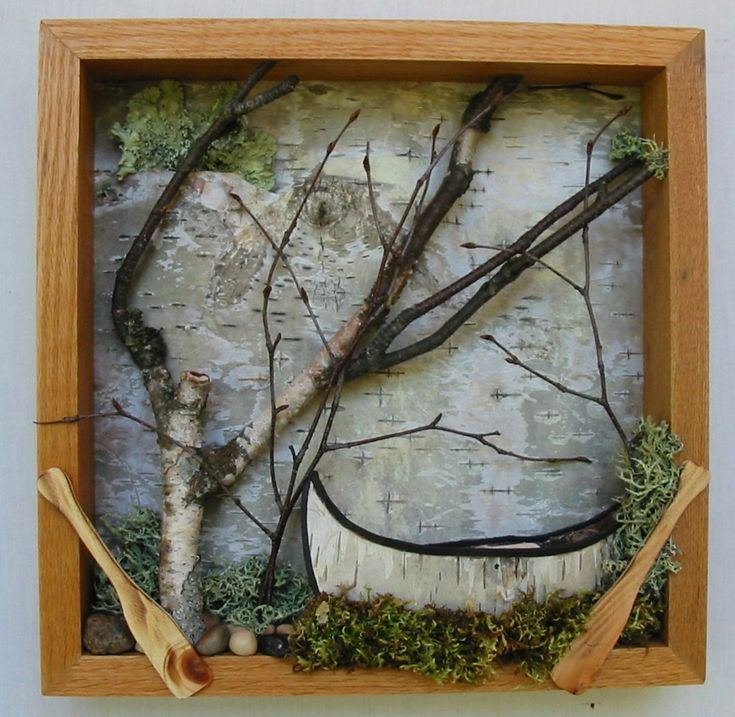 Framed Canoe, Woodland Scene - Free Shipping, Birch Bark Canoe, Urban Forest, Shadow Box, Urban Rustic. $70.00, via Etsy.